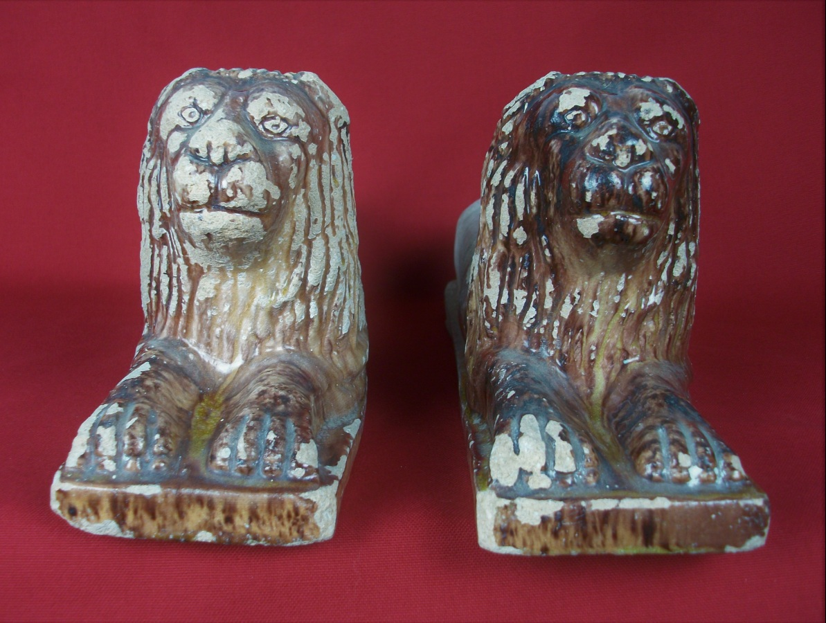 Pair of Antique Italian Terracotta Lions Andirons